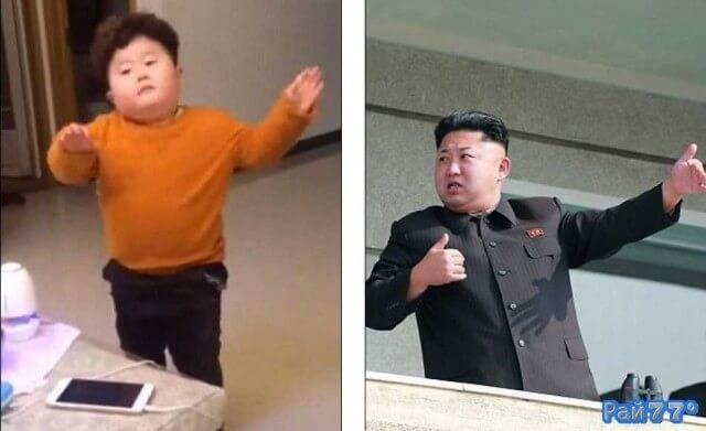 Китайский ребёнок, похожий на Ким Чен Ына стал интернет знаменитостью