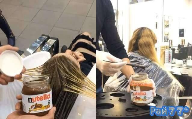 Nutella вместо краски для волос используется в парикмахерской в Дубаи