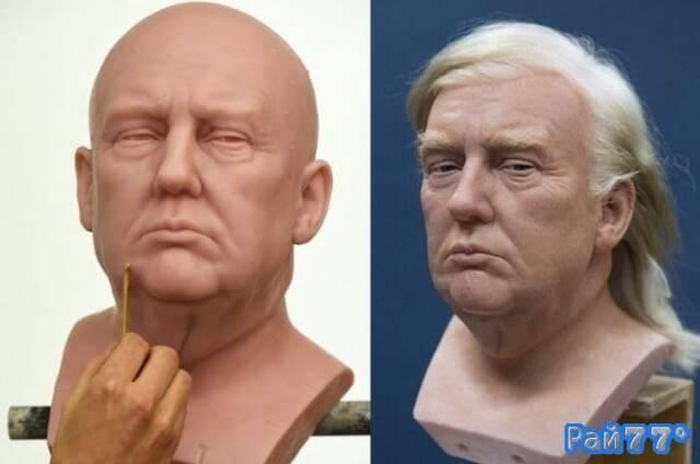 Художники знаменитого музея мадам Тюссо во время создания восковой фигуры 45-ого президента США, Дональда Трампа.