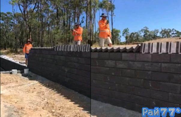 Австралийские строители использовали «принцип домино»во время укладки кирпичной стены. (Видео)