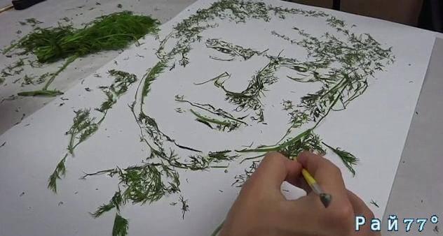 Украинский художник создал символичную картину Дональда Трампа... из укропа. (Видео)