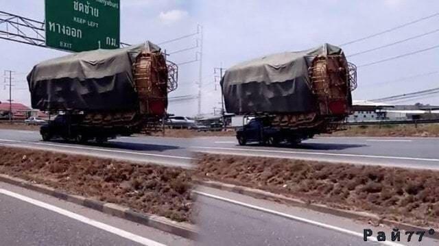 Всё своё вожу с собой... «Супернагруженный» автомобиль был запечатлён на автотрассе в Тайланде. (Видео)