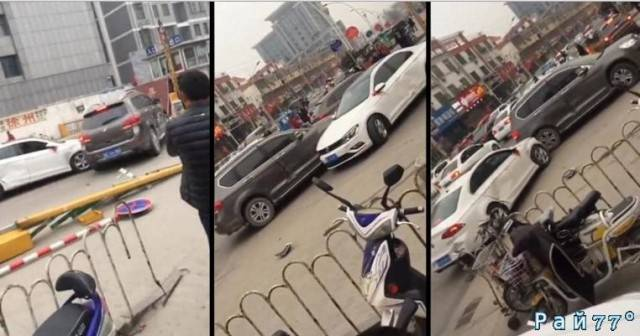 Два «авто барана» не поделили дорогу в Китае