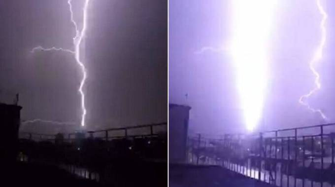 Молния попавшая в самую высокую смотровую площадку в мире, была запечатлена случайным свидетелем. (Видео)