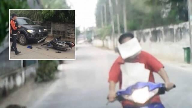 Трагикомичное ДТП между мотоциклисткой и автомобилистом по вине бумаги произошло в Тайланде. (Видео)