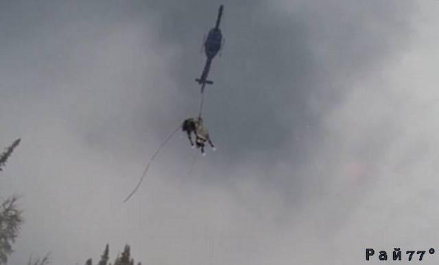 К спасению лошади, застрявшей в горах подключили вертолёт. (Видео)