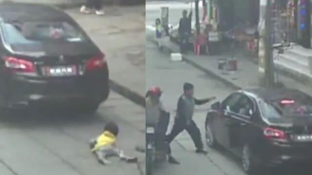 В Китае чудом выжила девочка, оказавшаяся под легковым автомобилем.