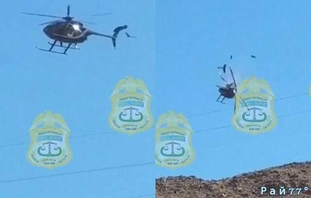 Крушение вертолёта, врезавшегося в линии электропередач в Мексике попало на видеокамеру.