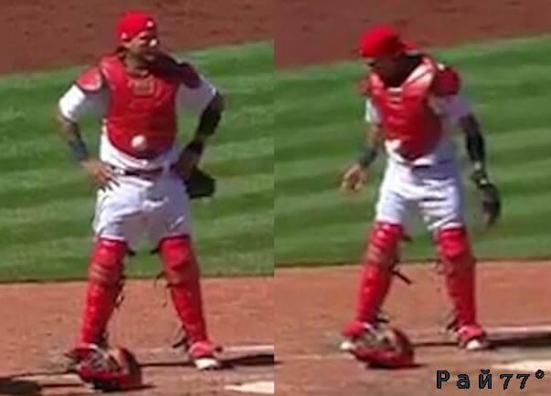 Американский бейсболист не заметил, как мяч «примагнитился» к его обмундированию. (Видео)
