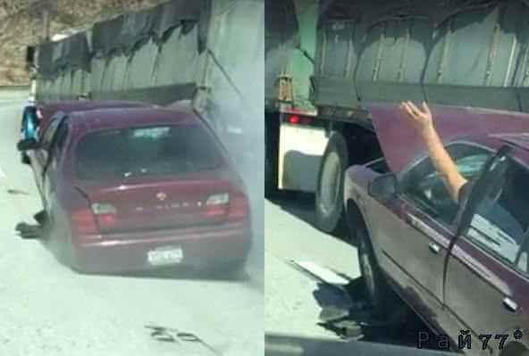 Американский автовладелец выручил коллегу, остановив грузовик, к кузову которого прицепился легковой автомобиль.