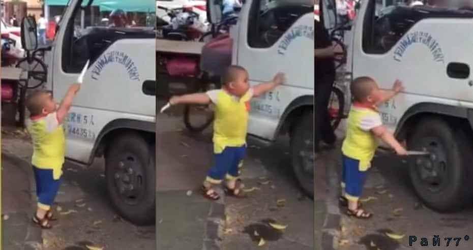 Знаменитый, воинствующий ребёнок, вооружённый ножом набросился на водителя грузовика, защищая интересы своей бабушки. (Видео)