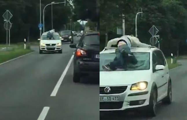 Автомобиль с «живым багажом» на крыше был запечатлён на оживлённой магистрали в Германии. (Видео)
