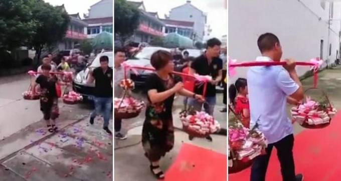 Жених с двумя корзинами денег пришёл свататься к невесте в Китае. (Видео)