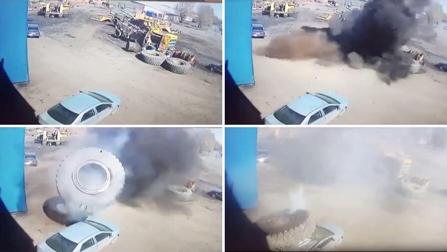 Взорвавшееся колесо от Белаза сделало из легковушки кабриолет на Кузбассе. (Видео)
