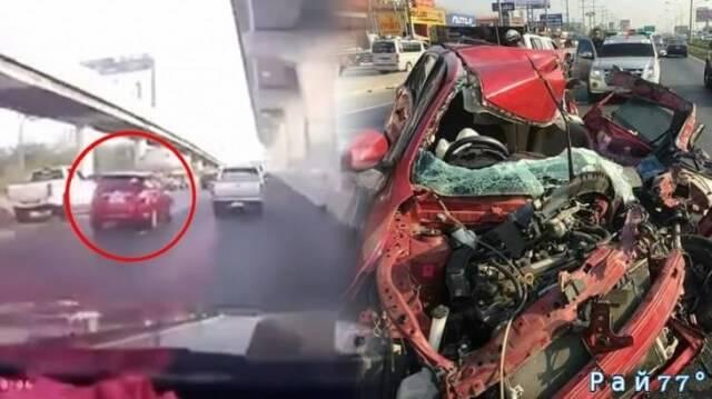 «Молниеносное» ДТП с тяжёлыми последствиями произошло на скоростной магистрали в Тайланде. (Видео)