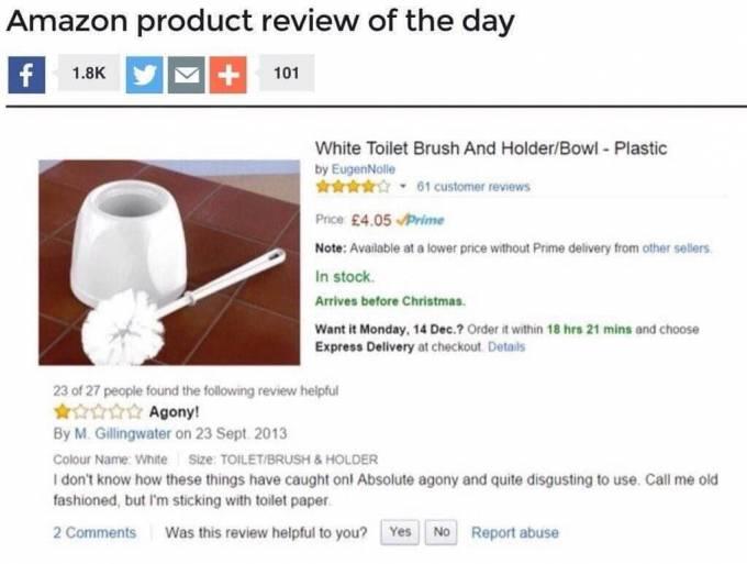 Интернет пользователь использовал щётку для унитаза не по назначению.