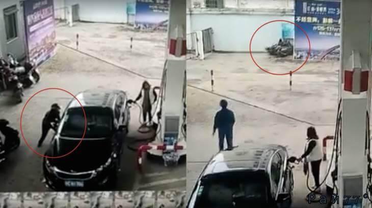 Воришка на мотоцикле, украв кошелёк из автомобиля на АЗС, «на радостях» врезался в забор. (Видео)