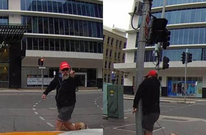 Пешеход, отругавший автовладельца, получил «возмездие» в конце маршрута. (Видео)