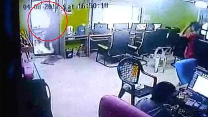 Змея, проникшая в интернет кафе в Тайланде, вызвала панику среди посетителей.