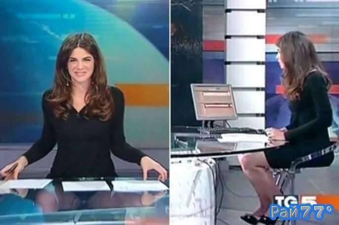 Итальянская телеведущая показала больше, чем рассчитывала во время выпуска новостей. (Видео)