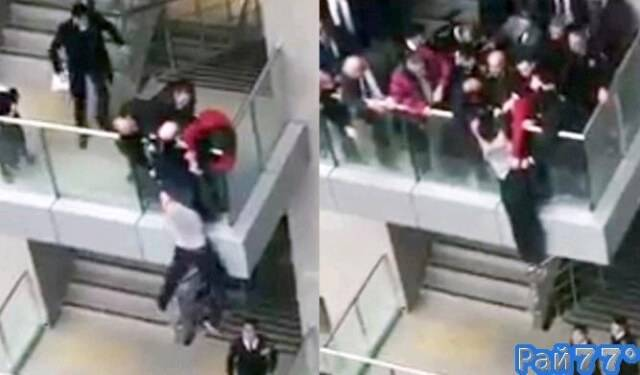 Попытка суицида была предотвращена в дворце правосудия, в Турции. (Видео)