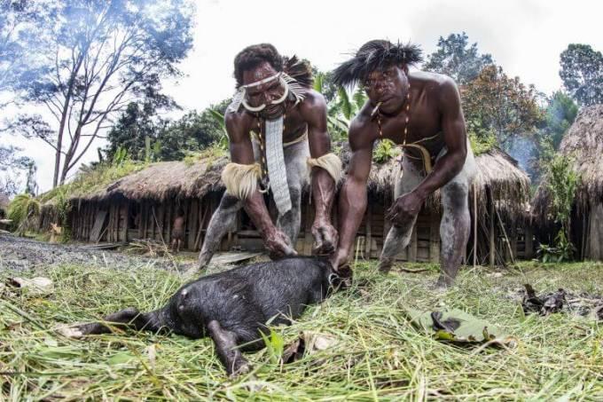Немецкий турист прожил неделю в обществе дикарей в индонезийском племени Дани.